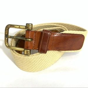 DOONEY & BURKE MENS LEATHER AND FABRIC BELT